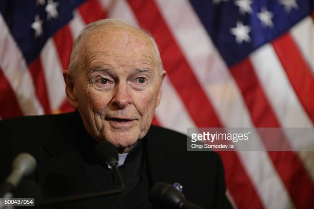 Cardinal Theodore McCarrick archbishop emeritus of Washington speaks during a news conference with senators and national religious leaders to respond...