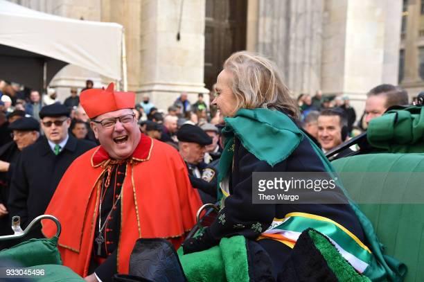 Cardinal Timothy Dolan and Grand Marshal Loretta Brennan Glucksman attend the 2018 New York City St Patrick's Day Parade on March 17 2018 in New York...