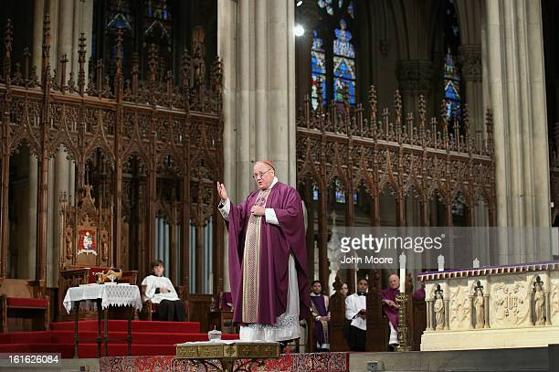 Cardinal Timothy Dolan, Archbishop of New York, addresses fellow Catholics at St. Patrick's Cathedral on Ash Wednesday on February 13, 2013 in New...