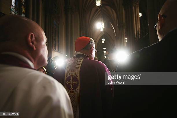 Cardinal Timothy Dolan, Archbishop of New York, addresses the media at St. Patrick's Cathedral on Ash Wednesday on February 13, 2013 in New York...