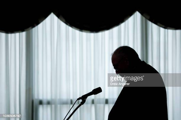 Cardinal Timothy Dolan archbishop of New York pauses during a news conference at the headquarters of the Archdiocese of New York September 20 2018 in...