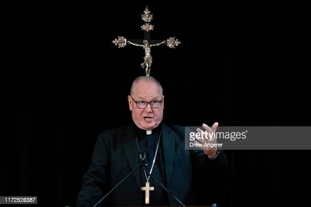 Cardinal Timothy Dolan, Archbishop of New York, speaks during a news conference regarding the response to sexual abuse of minors within the New York...