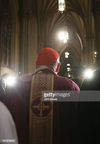 Cardinal Timothy Dolan, Archbishop of New York, speaks with the media at St. Patrick's Cathedral on Ash Wednesday on February 13, 2013 in New York...