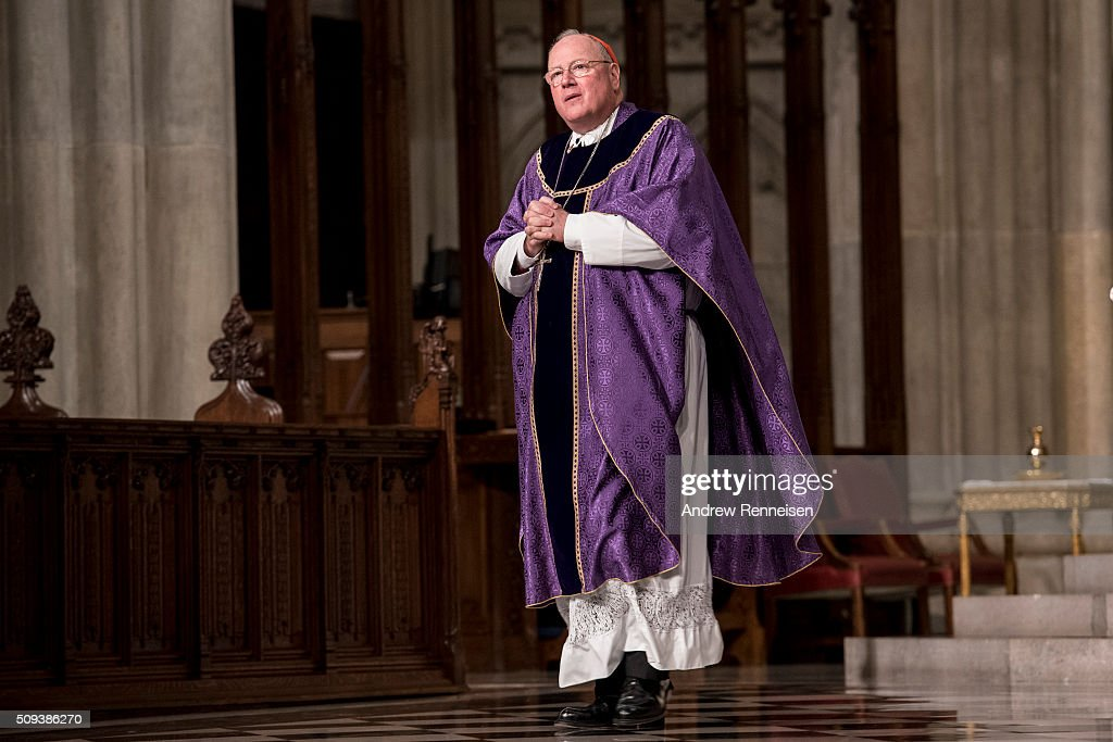 Cardinal Timothy Dolan holds mass on Ash Wednesday at St. Patrick's Cathedral on February 10, 2016 in New York City. The day marks the start of the lent for Catholics world wide.