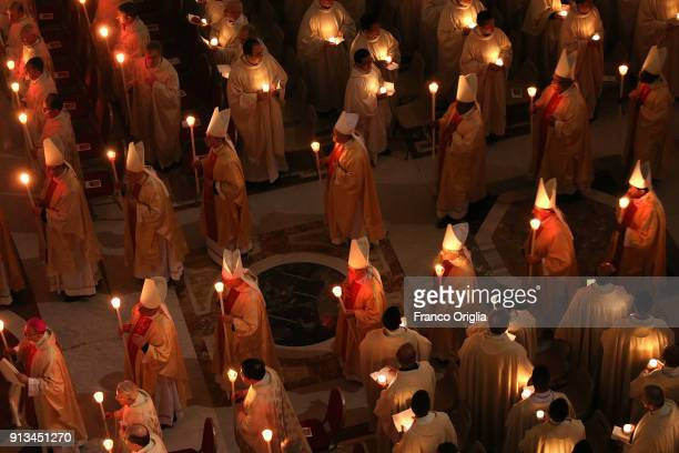 Cardinals and bishops attend the celebration of the World Day for Consecrated Life held by Pope Francis at the St Peter's Basilica on February 2 2018...
