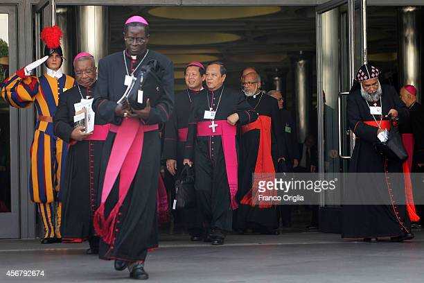 Cardinals and bishops leave the Synod Hall at the end of a session of the Synod on the themes of family on October 7 2014 in Vatican City Vatican In...