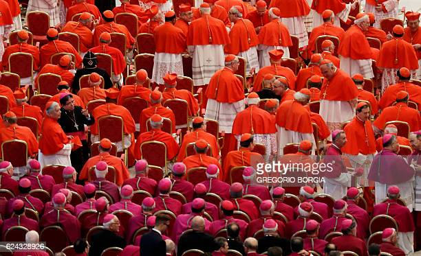 TOPSHOT Cardinals and bishops wait for the start of a consistory on November 19 2016 at St Peter's basilica Pope Francis has named 17 new cardinals...