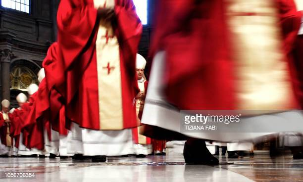 Cardinals arrive prior to attend a mass celebrated by the Pope for the Cardinals and Bishops who have died over the course of the year at the Saint...