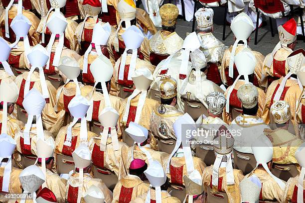 Cardinals attend a canonisation ceremony held by Pope Francis in St Peter's square on October 18 2015 in Vatican City Vatican Pope Francis canonized...