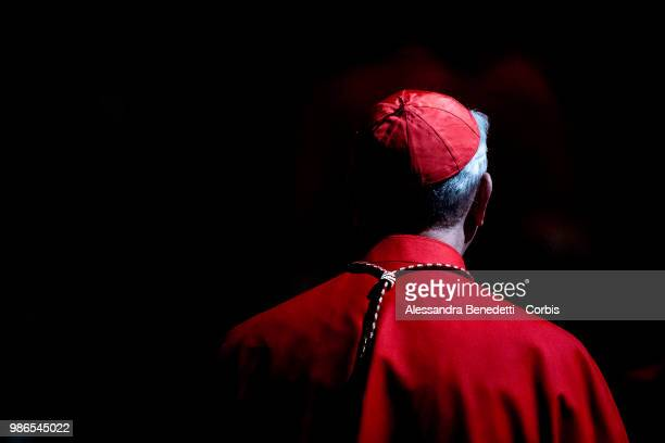 Cardinals attend a consistory ceremony lead by Pope Francis to create 14 new cardinals at St Peters Basilica on June 28 2018 in Vatican City Vatican