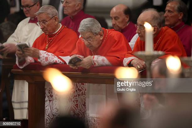 Cardinals attend Ash Wednesday Mass at St Peter's Basilica on February 10 2016 in Vatican City Vatican Ash Wednesday opens the liturgical 40 day...