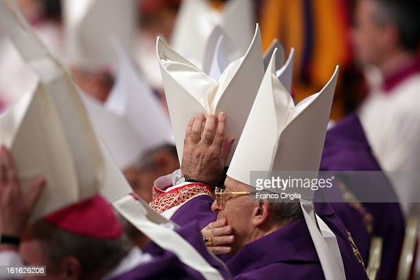 Cardinals attend the Ash Wednesday service held by Pope Benedict XVI at St Peter's Basilica on February 13 2013 in Vatican City Vatican Ash Wednesday...