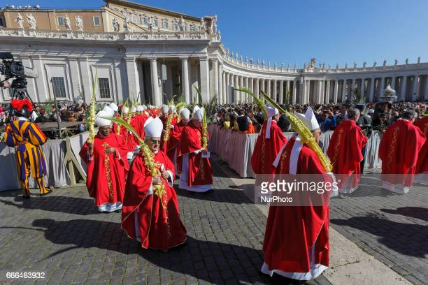 Cardinals attend the Palm Sunday Mass celebrated by Pope Francis in St Peter's Square in Vatican City Vatican on April 09 2017 The celebration begins...