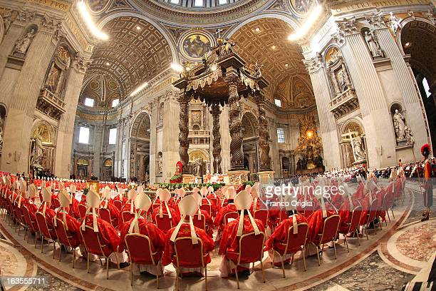 Cardinals attend the Pro Eligendo Romano Pontifice Mass at St Peter's Basilica before they enter the conclave to decide who the next pope will be on...