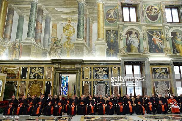 Cardinals attends the traditional Greetings of Pope Francis to the Roman Curia on December 21 2015 at the Vatican AFP PHOTO / ALBERTO PIZZOLI / AFP /...