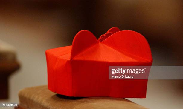 Cardinal's biretta the traditional hat worn by Roman Catholic clergy is seen during a Mass led by Cardinal Francesco Marchisano of Italy April 9 2005...