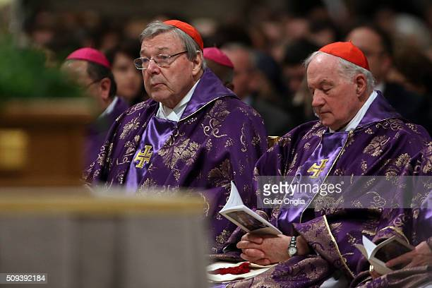 Cardinals George Pell and Marc Ouellet attend Ash Wednesday Mass at St Peter's Basilica on February 10 2016 in Vatican City Vatican Ash Wednesday...