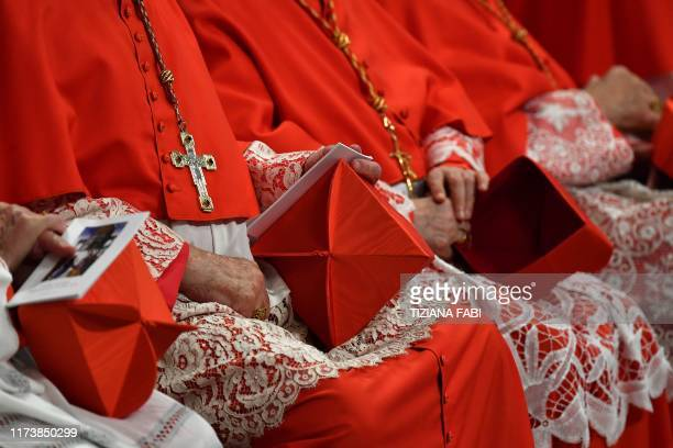 Cardinals hold their berretta square cap on their knee as they attend a Pope's Ordinary Public Consistory for the creation of new cardinals for the...
