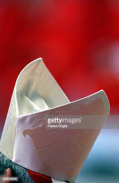 A cardinal's mitre is seen at St Peter's Basilica during a mass for Pope John Paul II in St Peter's Basilica April 15 2005 in Vatican City Cardinals...