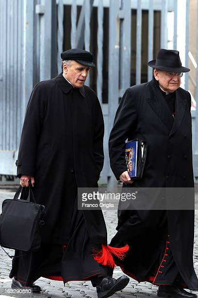 US cardinals Raymond Burke and Daniel Di Nardo leave the Paul VI Hall at the end of a session of cardinals general congregations on March 7 2013 in...