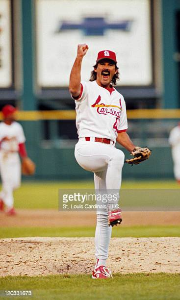 Cardinals relief pitcher Dennis Eckersley celebrates following a game circa 1996 at Busch Stadium in St Louis Missouri