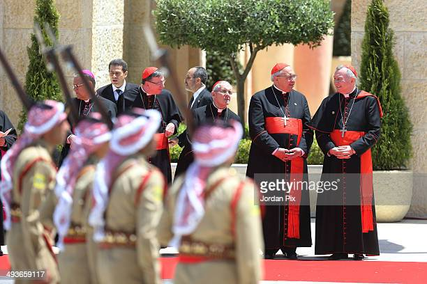 Cardinals take place as royal honour guard perform a show as Jordan's King Abdullah II and his wife Queen Rania will welcome Pope Francis upon his...