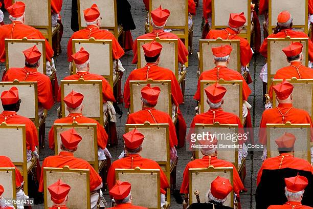 Cardinals taking part in a cardinal elevation ceremony in StPeter's Square at the Vatican Pope Benedict XVI elevated 12 new cardinals during his...