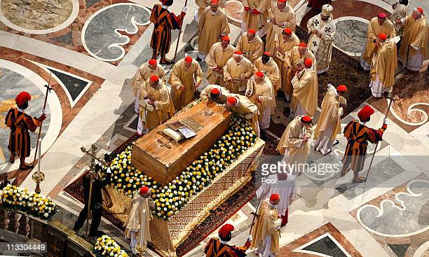 CardinalsI pray in front of the coffin of John Paul II at St Peter's Basilica at the end of John Paul II Beatification Ceremony on May 1 2011 in...