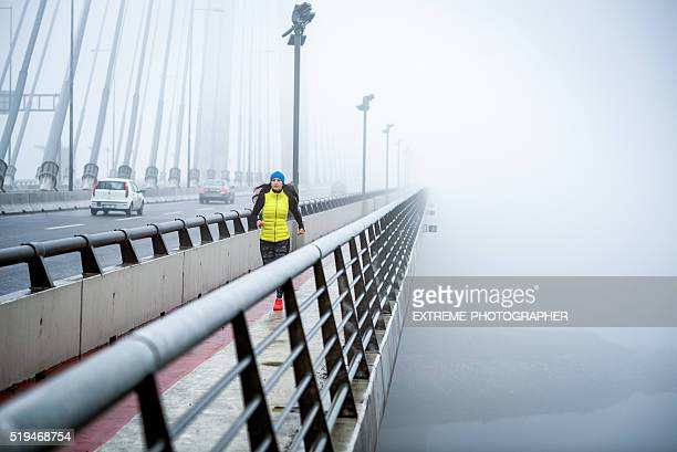 Cardio training during a foggy winter day