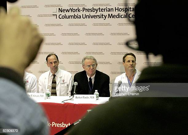 Cardiology chief Dr Allan Schwartz New York Presbyterian Hospital/Columbia president and CEO Herbert Pardes and Chief of Cardiothoracic Surgery Dr...