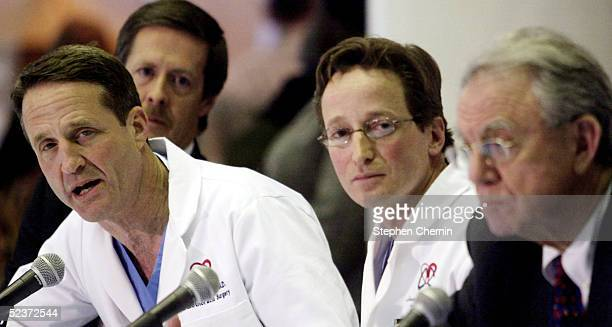 Cardiothoracic Chief Dr Craig Smith speaks as Thoracic surgeon Dr Joshua Sonett Dr Herbert Pardes and Dr Robert Kelly listen during a press...