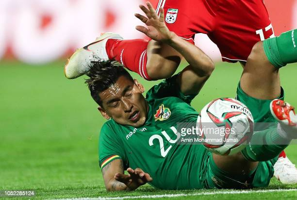 Cardozo Rudy of Bolivia in action during the international friendly match between Iran and Bolivia at Azadi Stadium on October 16 2018 in Tehran Iran