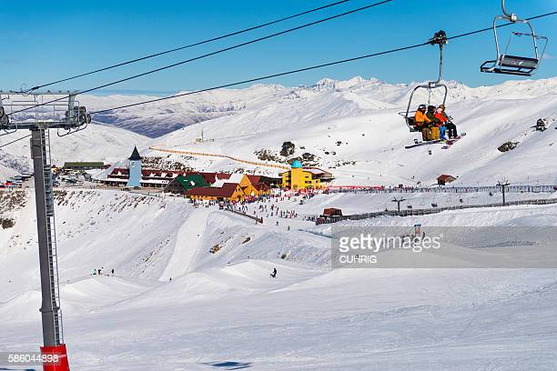 Cardrona Mountain Resort with Lift in foreground