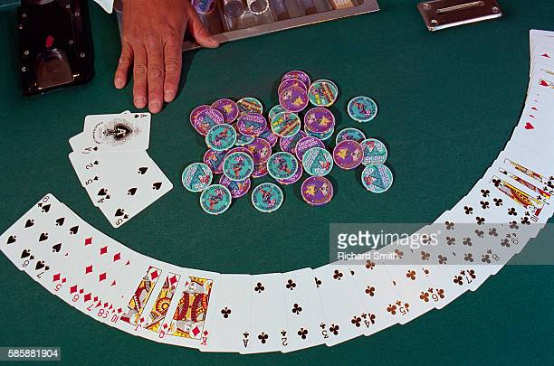 Cards and Chips on Gambling Table