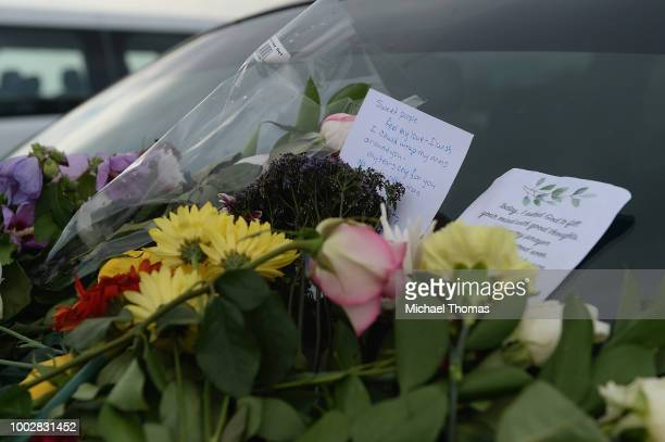 Cards and flowers are seen on the vehicle of a victim of the Ride The Ducks Accident at Ride The Ducks Tours on July 20 2018 in Branson Missouri...