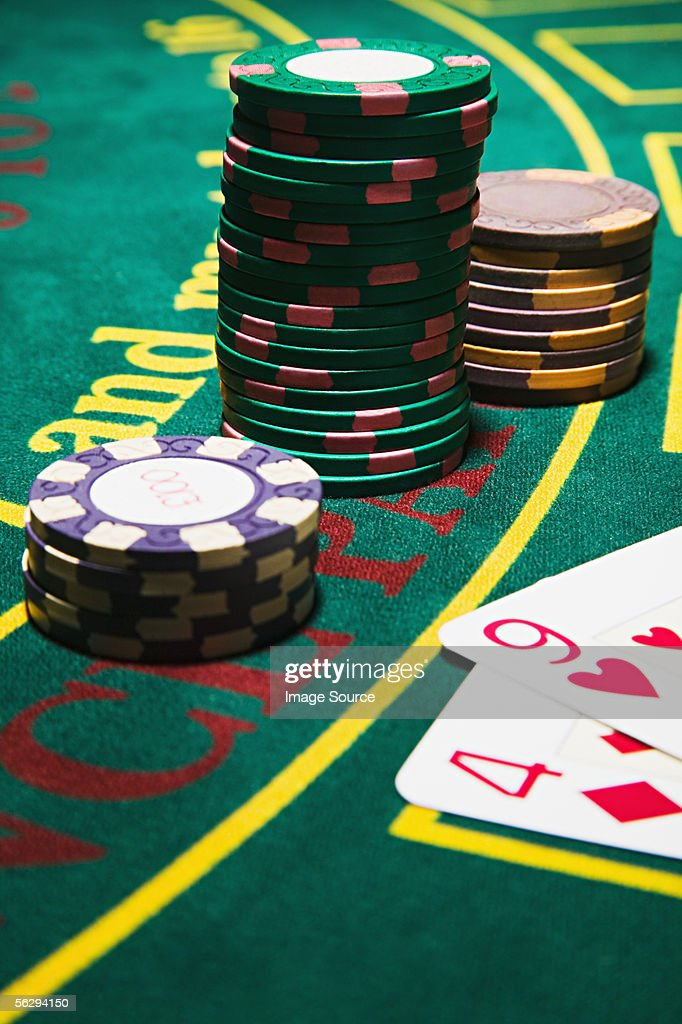 Cards and gambling chips : Stock Photo