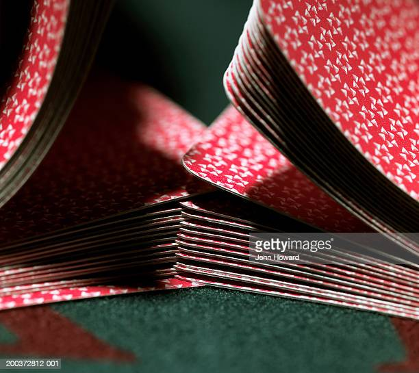 cards being shuffled on gaming table, close-up - shuffling stock photos and pictures
