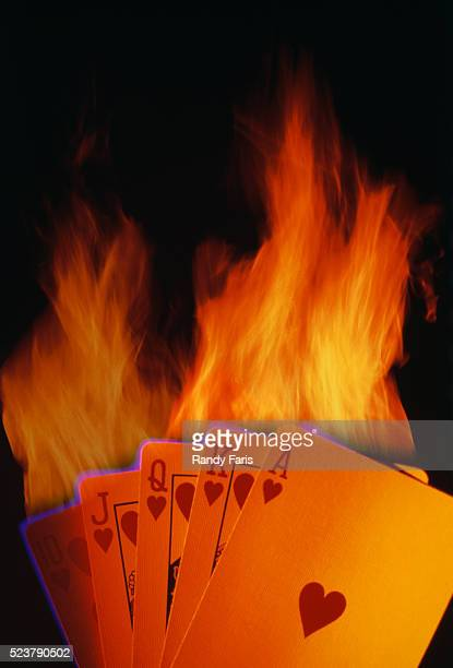 """""""cards on fire"""": hearts royal flush - royal flush stock photos and pictures"""