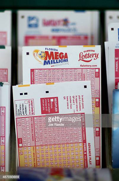 Cards to pick numbers for Mega Million lottery tickets are seen at Circle News Stand on December 16, 2013 in Hollywood, Florida. The Mega Millions...