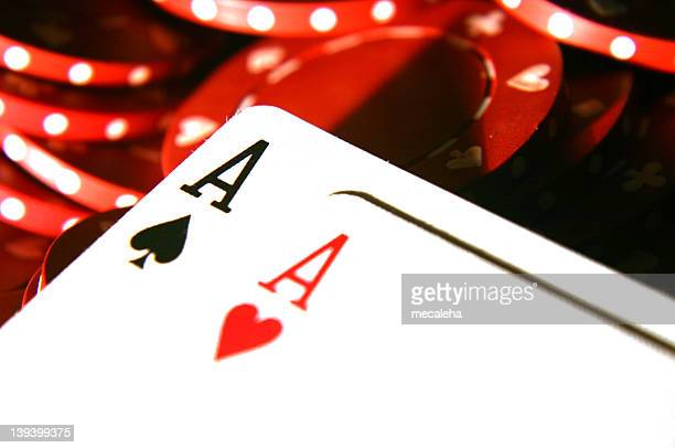 cards two aces 4 - texas hold 'em stock pictures, royalty-free photos & images