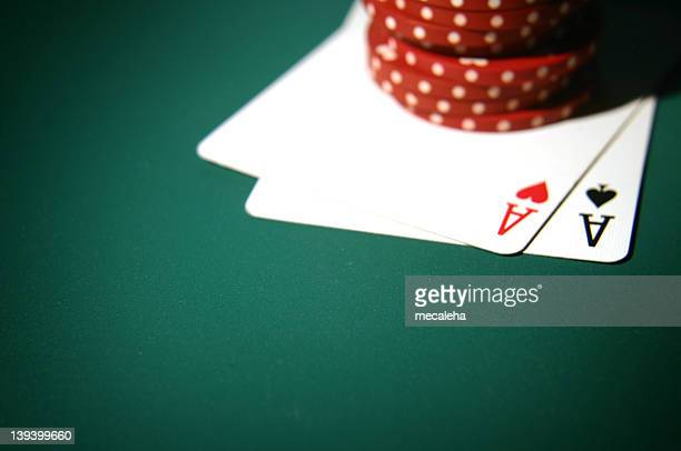 cards two aces 8 - texas hold 'em stock pictures, royalty-free photos & images
