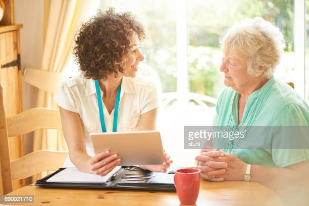 care manager with tenant - questionnaire stock photos and pictures