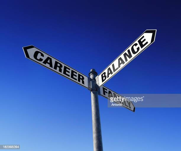 Career family balance with white and black street signs
