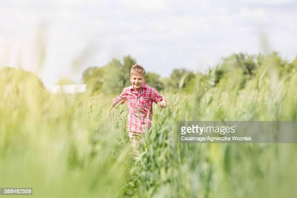 Carefree boy running in sunny rural field