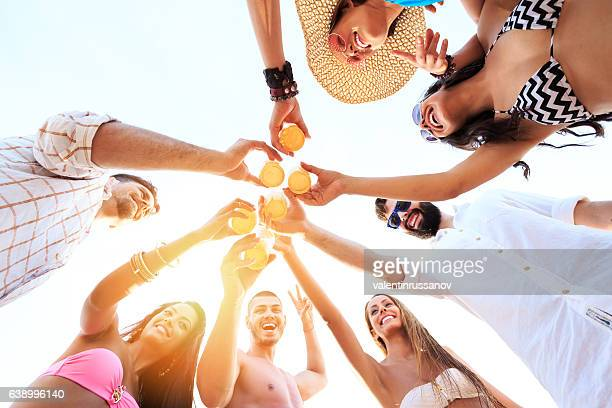 Carefree friends cheering with beer on beach