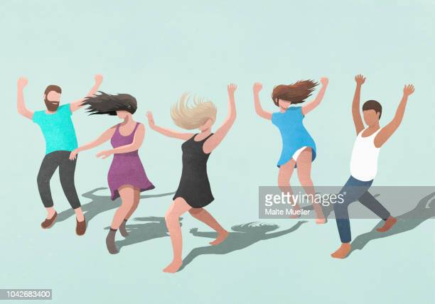 carefree friends dancing on blue background - illustration stock pictures, royalty-free photos & images