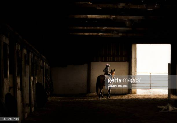 carefree girl horseback riding at stable - stable stock pictures, royalty-free photos & images