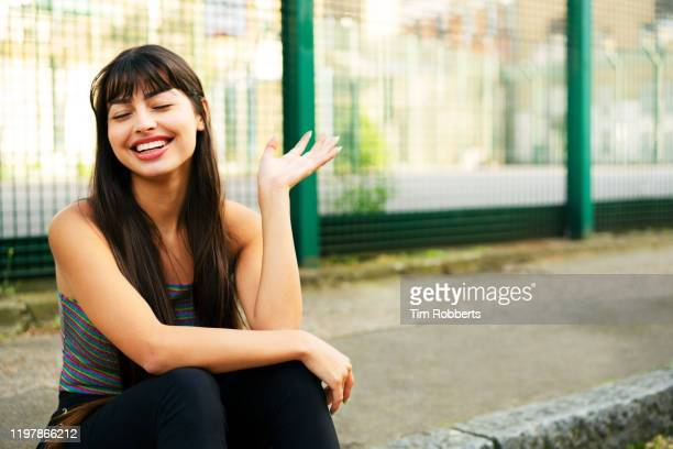 carefree woman - bangs hair stock pictures, royalty-free photos & images