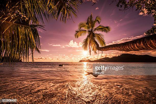 carefree woman swinging above the sea at sunset beach. - idyllic stock pictures, royalty-free photos & images