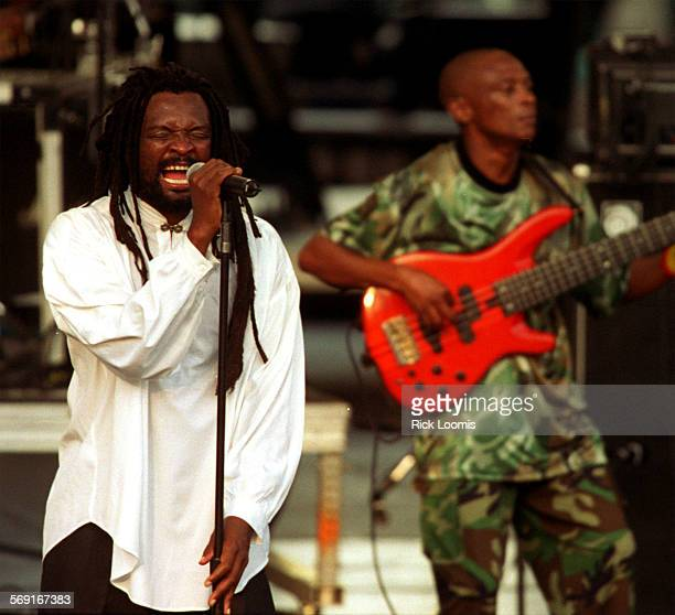 CAreggaedube0801RL––Irvine––Lucky Dube belts out a song for the crowd gathered at the Irvine Meadows Amphitheatre for Saturday's Spirit of Unity...